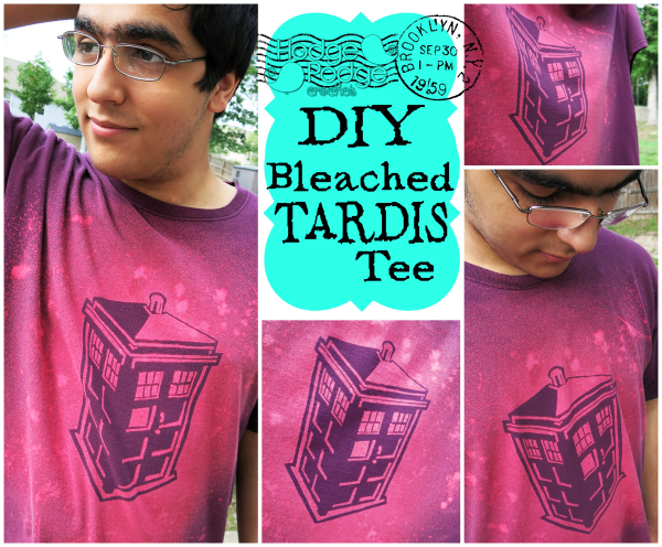 https://hodgepodgecrochet.wordpress.com DIY Bleached TARDIS Tee